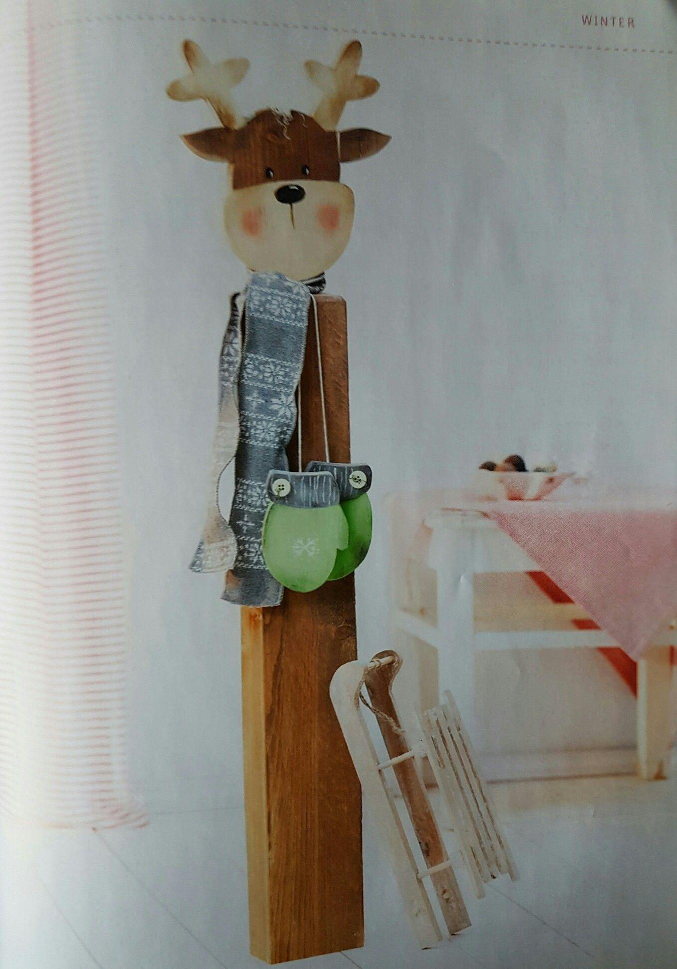 Holzpfosten Rentier #malerei #painting #kunst #art #holz #hausdeko ...