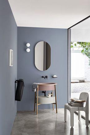 Salle De Bains Moderne Bleu Gris Au Mur Et Lavabo Vieux Rose