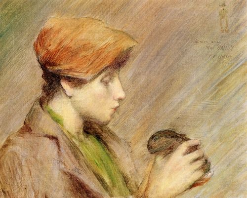 Suzanne (Hoschede) au Lapin, Theodore Earl Butler. American Impressionist Painter (1861 - 1936)