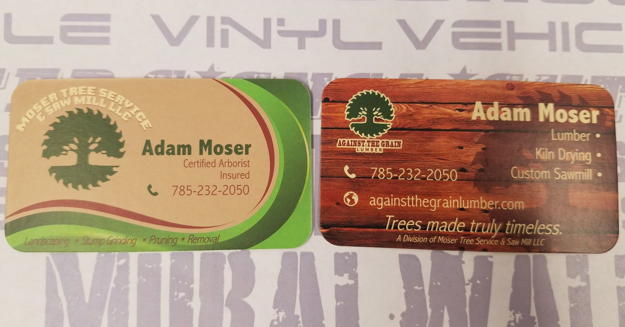We made these business cards for Moser Tree Service & Saw Mill LLC ...