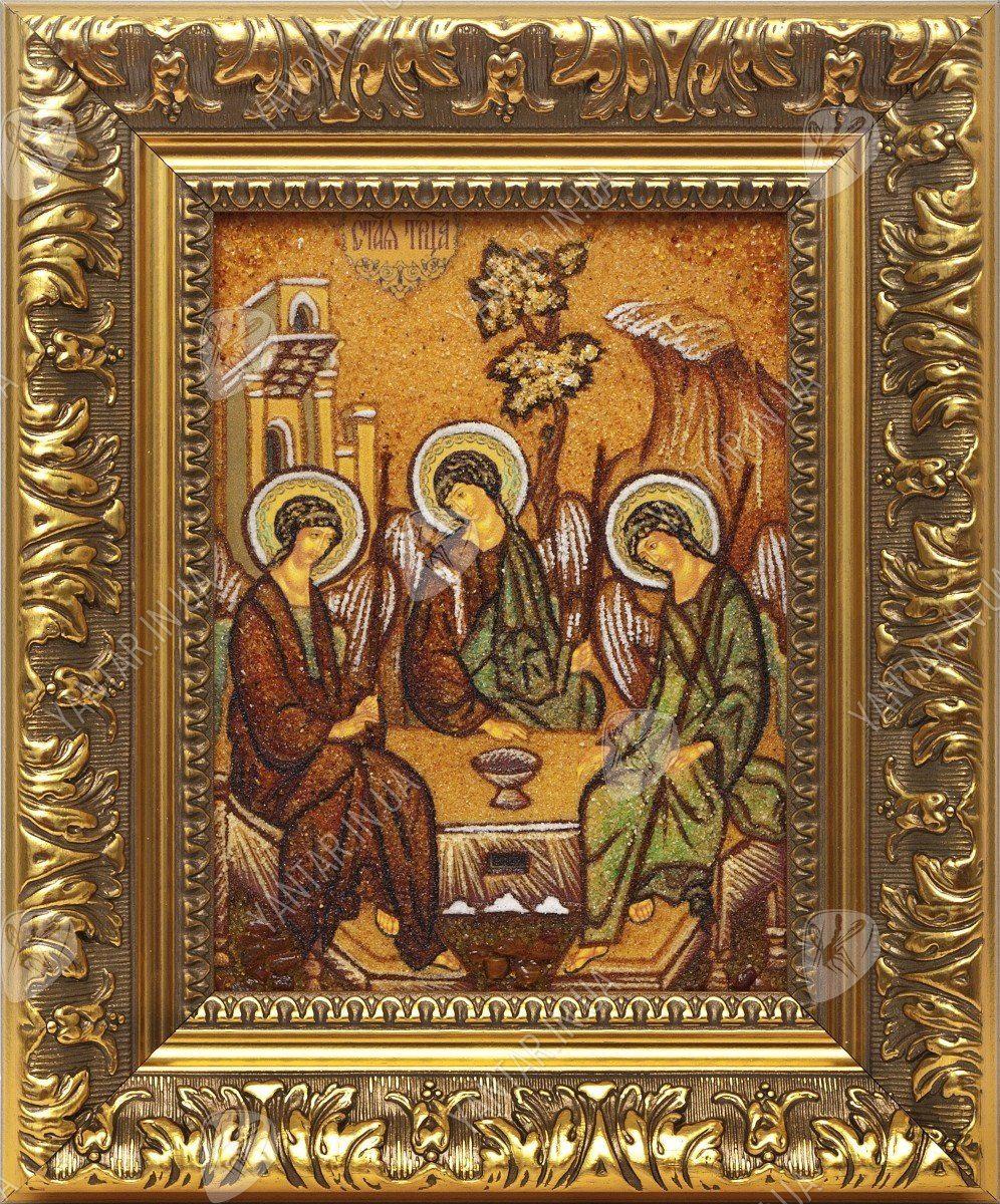 Икона из янтаря Троица Ветхозаветная - Янтарные картины в Украине ТМ Янтарь Полесья