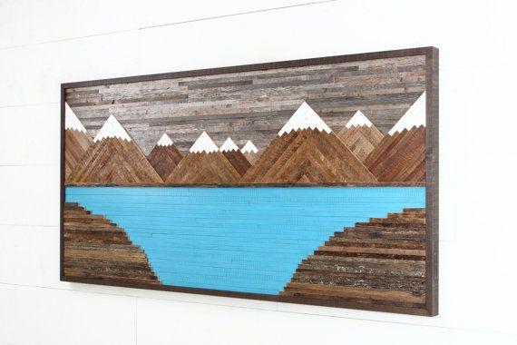 Glacier Mountain Landscape, wood wall art, reclaimed wood art, rustic wall art, Large wall art
