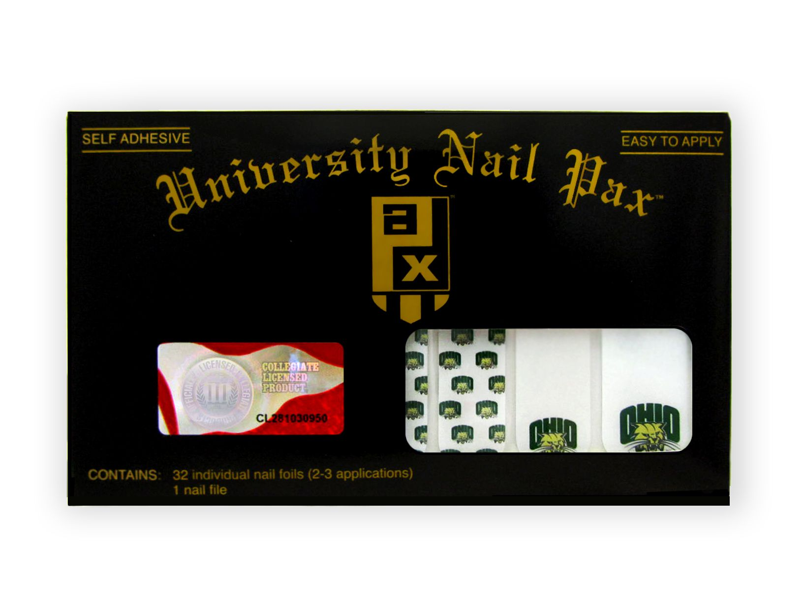 Ohio University set includes 32 nail wraps and a nail