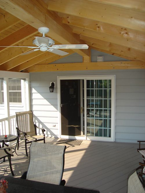 Gable Roof Sunroom W Ceiling Fan Angle 2 Home Outdoor In 2019