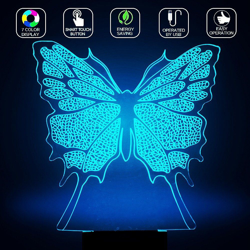 3D Butterfly Lamp, Optical Illusion Night Light For Nursery / Decor /  Bedroom, 7 Colors Changing Butterfly Toys And Gifts For Kids / Baby /  Birthday By YKL ...