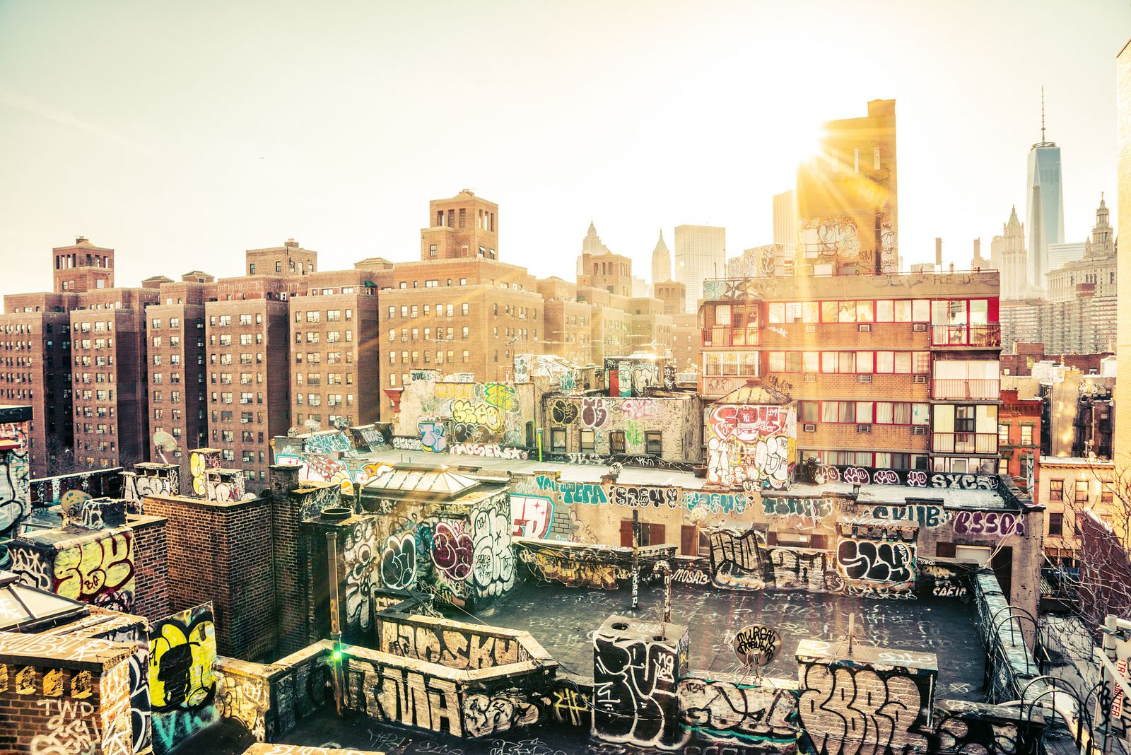 All sizes | New York City - Sunset - Chinatown Rooftop Graffiti | Flickr - Photo Sharing!