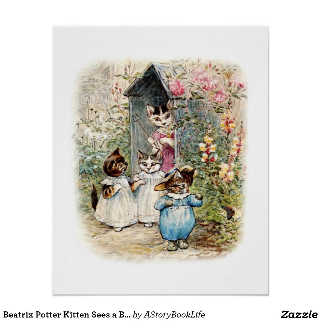 Beatrix Potter Kitten Sees a Butterfly Perfect Poster