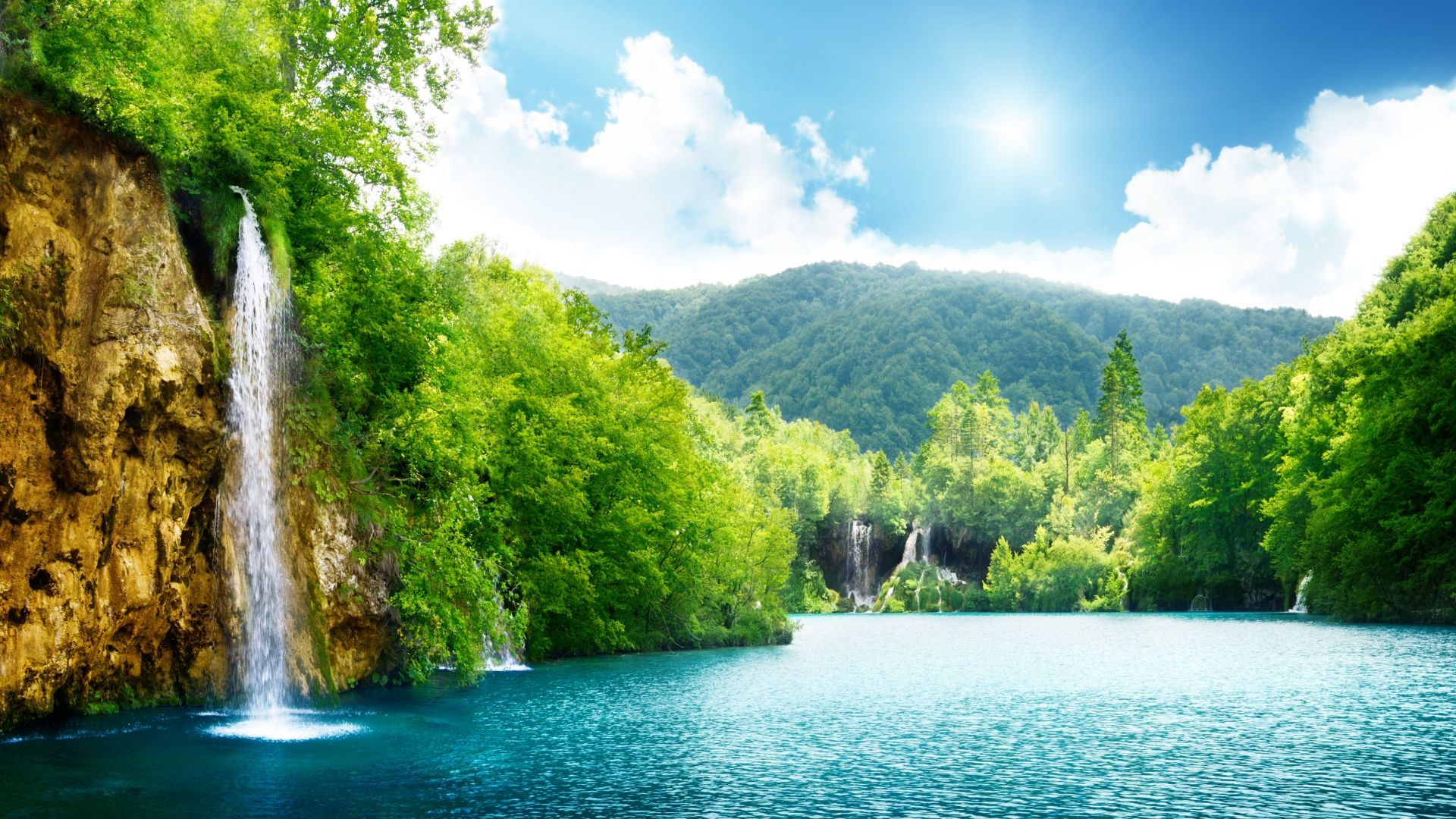 Nature Waterfall Summer Lake Trees 1920x1080 Hd Nature Wallpapers Waterfall Wallpaper Nature Desktop
