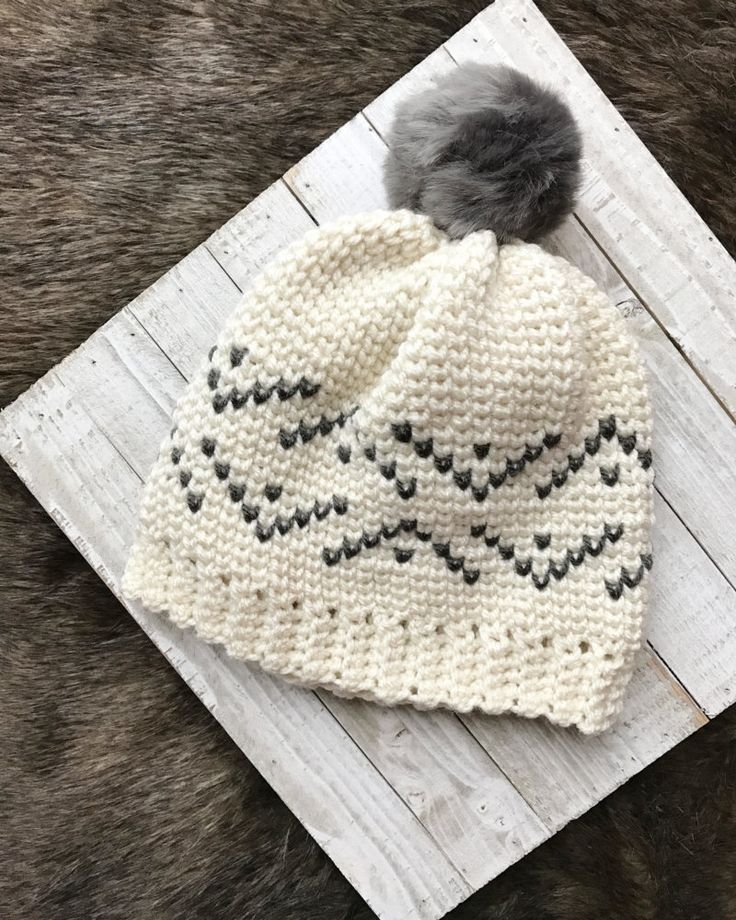 Fair Isle Crochet Pattern   crochet hat pattern   pdf crochet pattern    everest beanie crochet pattern   fur pom pom beanie   knit look crochet    pattern ... a029df69fc8