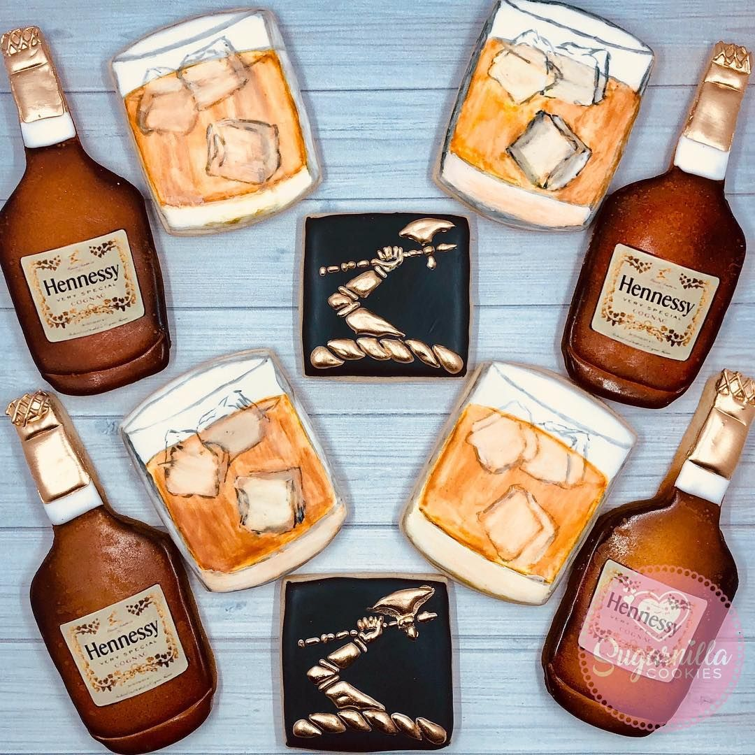 Decorated Alcohol Bottles For Birthday: Hennessy Cookies Henny Party Bottles Cognac Glass Liquor
