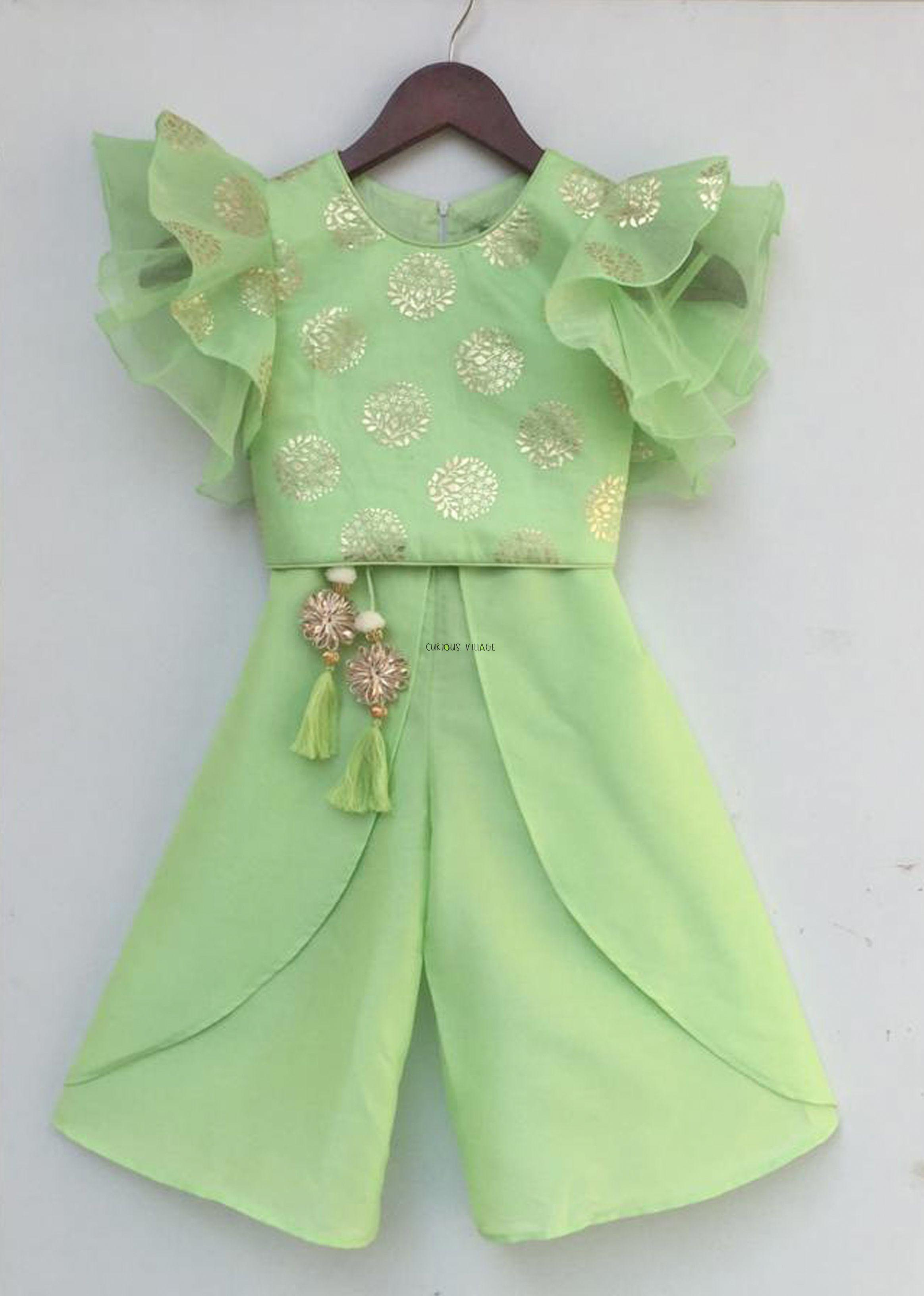 Green Foil Print Top with Plazo - Curious Village  Kids designer