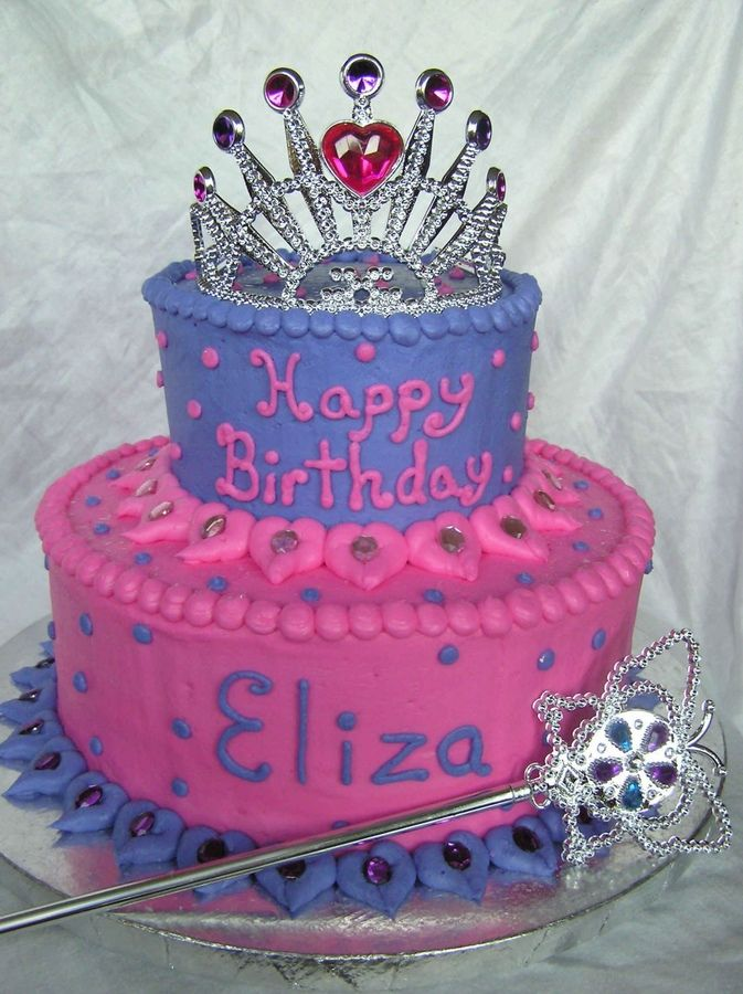 Another Princess Cake 2 Tier Purchased The Tiara And Wand Walmart Gems Are From Craft Store Not Edible