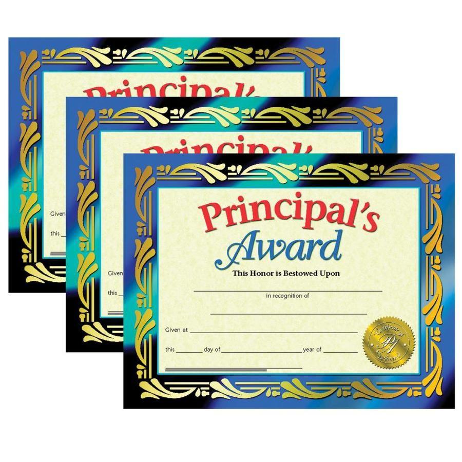 Principal's Award Certificate, 8.5 -in x 11 -in, 30 Per Pack, 3 Packs Hayes Principal's Award Certificate, 8.5 -in x 11 -in, 30 Per Pack, 3 Packs | H-VA689-3