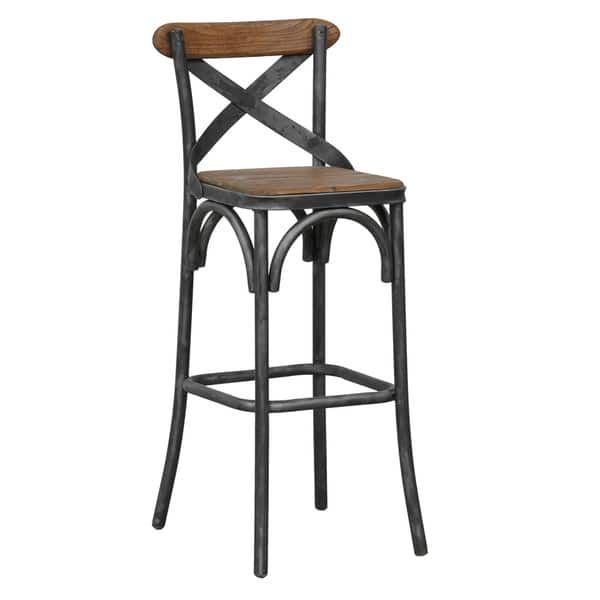 Dixon Reclaimed Wood and Iron 30-inch Barstool by Kosas Home ...
