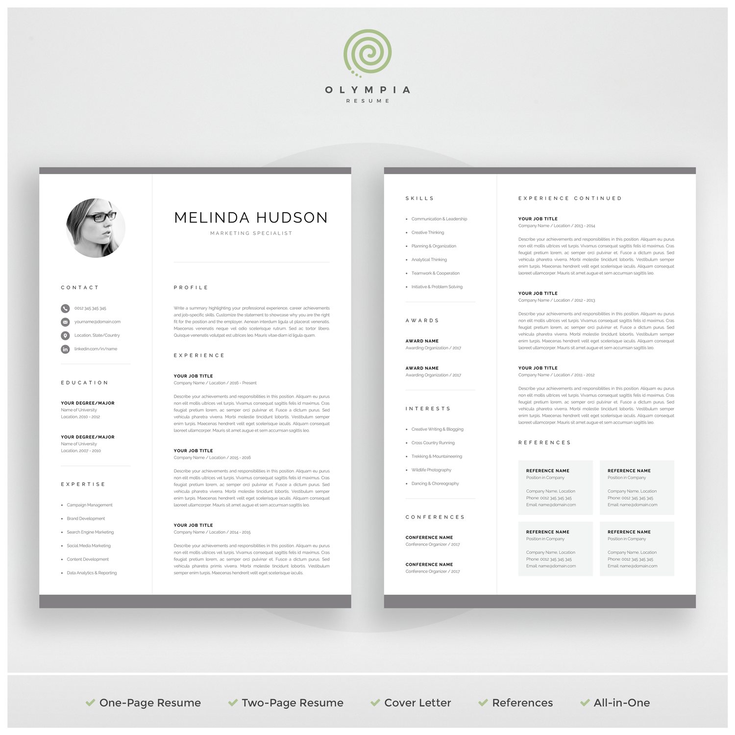 Cv Template With Photo Professional Resume Template For Word Etsy Resume Template Professional Resume Templates Resume Template