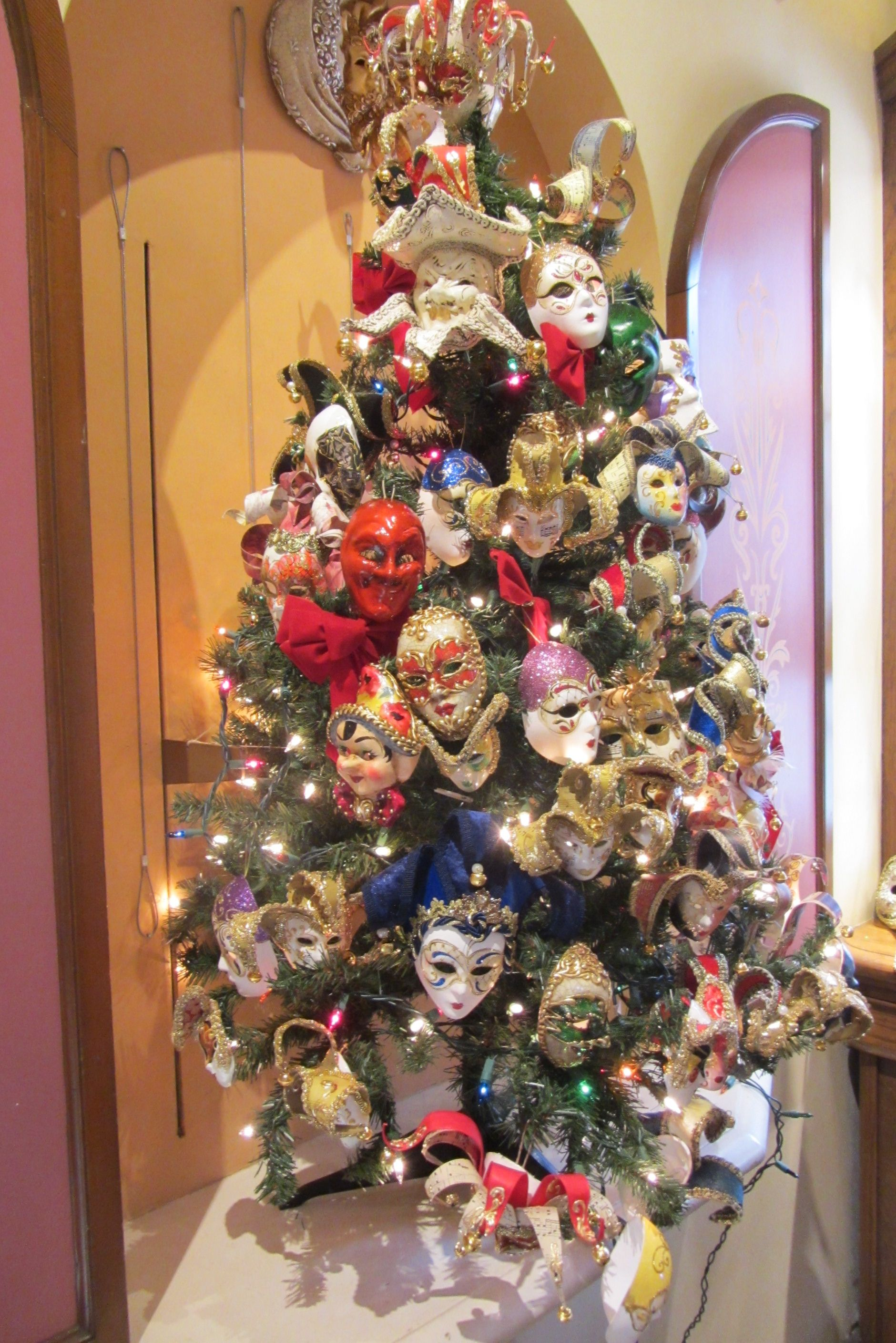 Christmas Tree Decorated With Mask Italy At Epcot Christmas Tree Decorations Christmas Tree Christmas Crafts