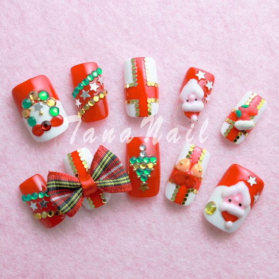 Japanese Nail Art Tips , Christmas Design Santa Claus Red