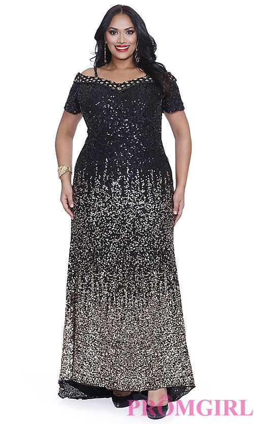 Long Black and Gold Sequin Plus Size Prom Dress | Full ...