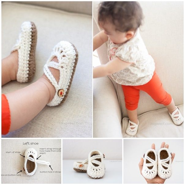 Crochet Double Strapped Baby Mary Jane Slippers | Puros, Zapatos y Bebé