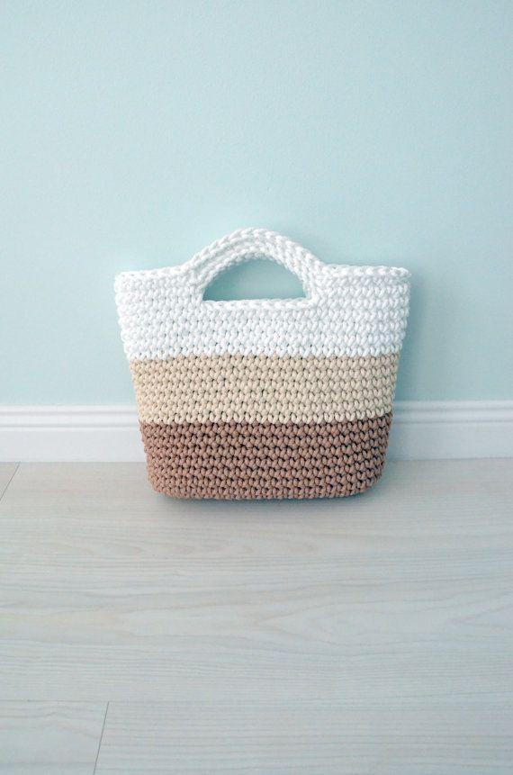 Brown/cream/white handbag  Crochet bag  knitted by CatInTheBasket