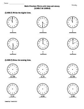 2.MD.7 & 2.MD.8)Time & Money -2nd Grade Common Core Math Worksheets ...