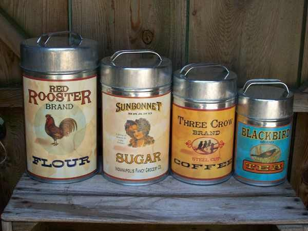 Tin Vintage Style Rooster 4pc Country Primitive Kitchen Canisters