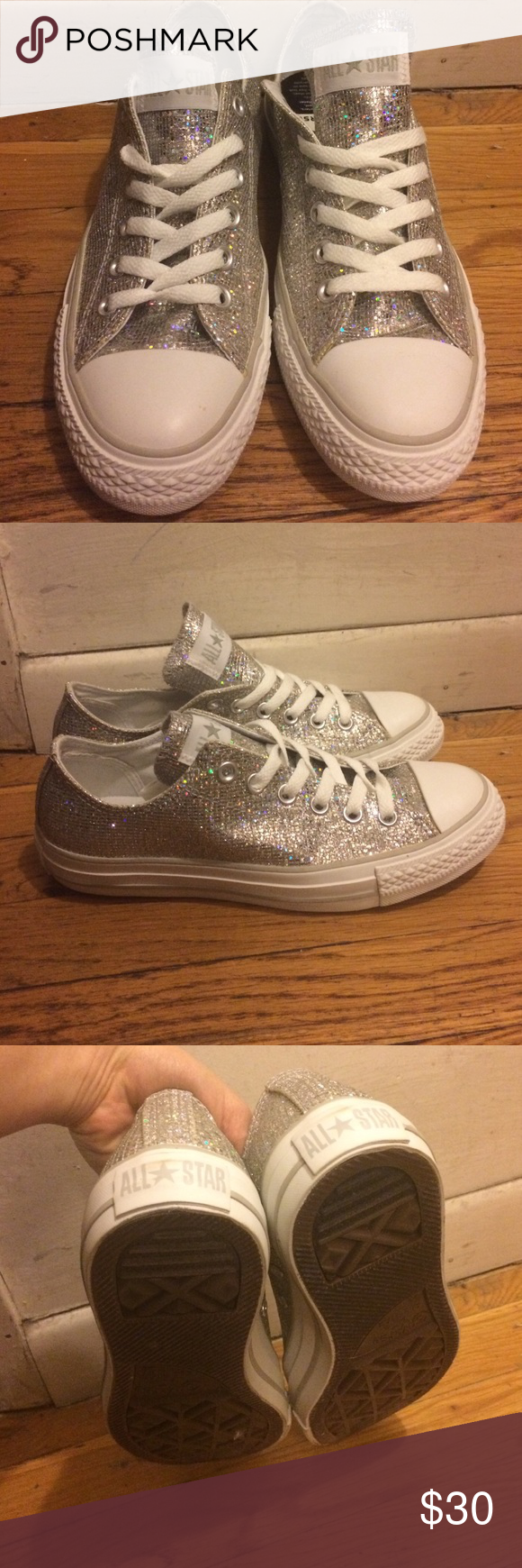 Converse all star silver sparkle shoes