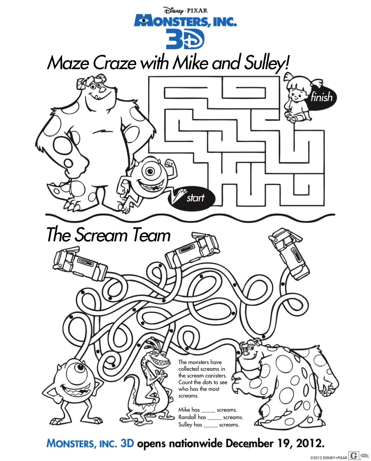 Monsters Inc Maze Craze