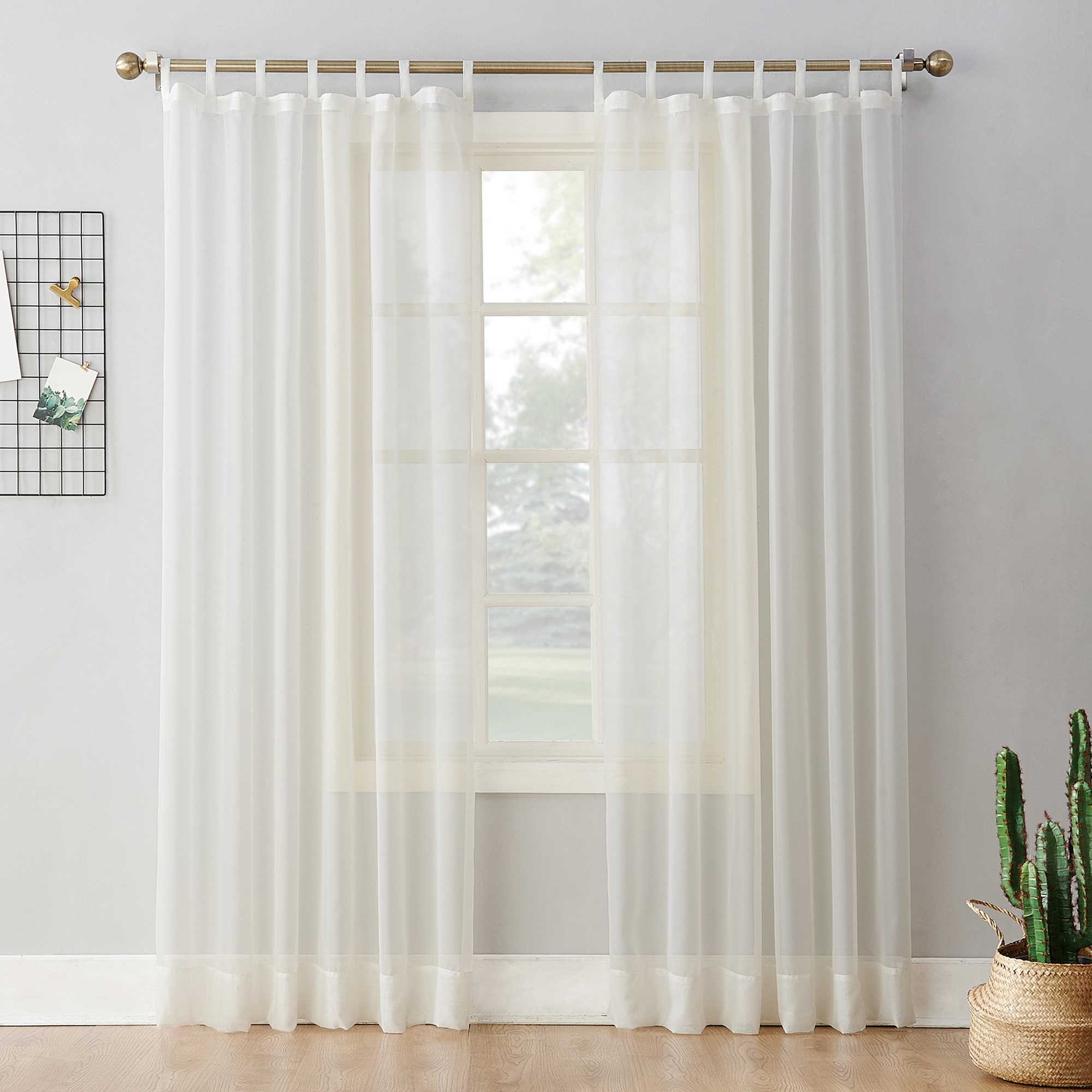 Emily Sheer Voile Tab Top Curtain Panel Eggshell 59 X84 No 918