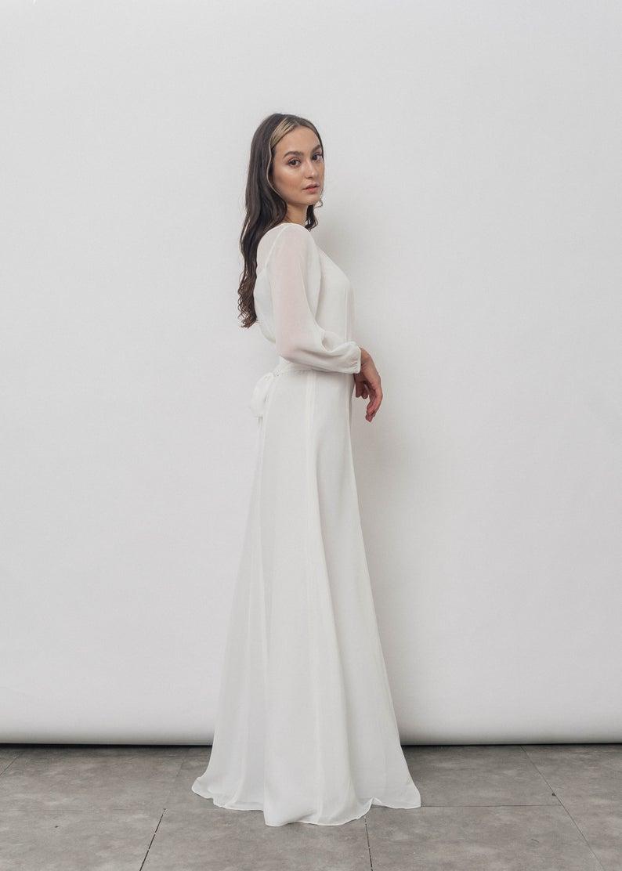 Roxane Chiffon Dress Simple Wedding Dress Long Sleeves Wedding Etsy Long Wedding Dresses Chiffon White Dress Simple Silk Dress [ 1112 x 794 Pixel ]