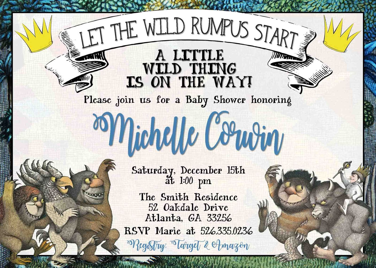 Where the Wild Things Are Baby Shower Invitation Personalized ...