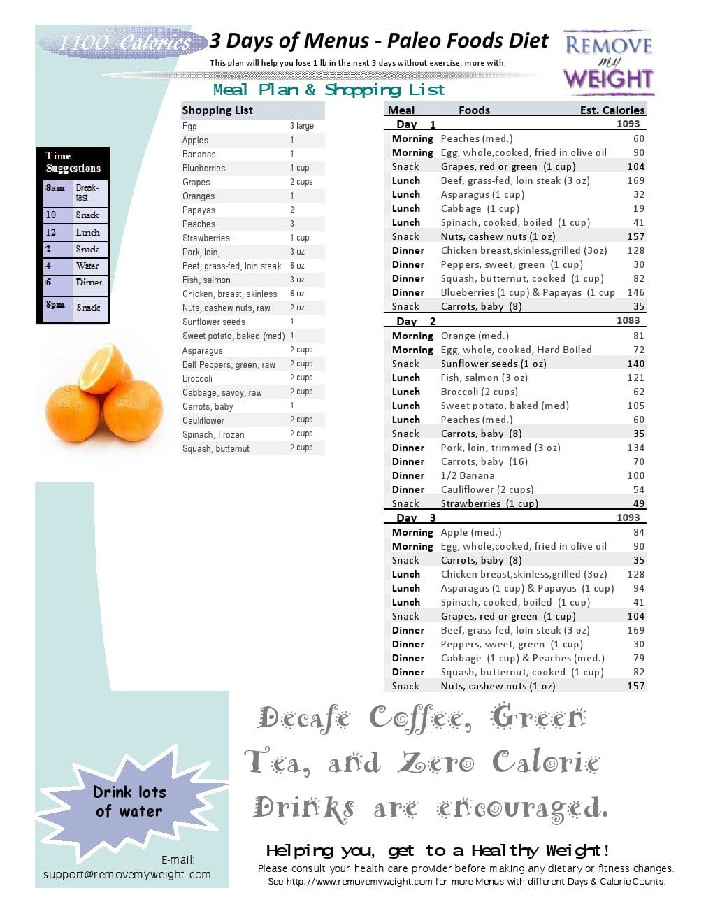 1100 calorie a day diet plan