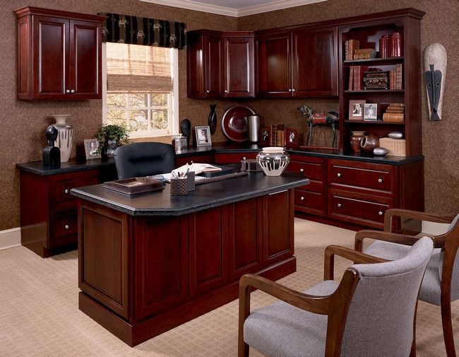A Custom Desk Bookcase And Upper Cabinets In Cabernet Gives This Home Office A Polished Pulled