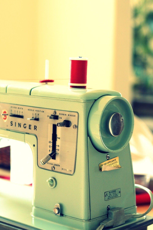 Vintage Singer Sewing Machine Photography, Seamstress, Still Life,  Nostalgic, mint green, red thread. $30.00, via Etsy.