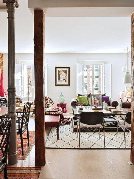 Style And Vibrant Tones In Madrid By Marengo Columns Interior Elegant Interiors Decor Interior Design