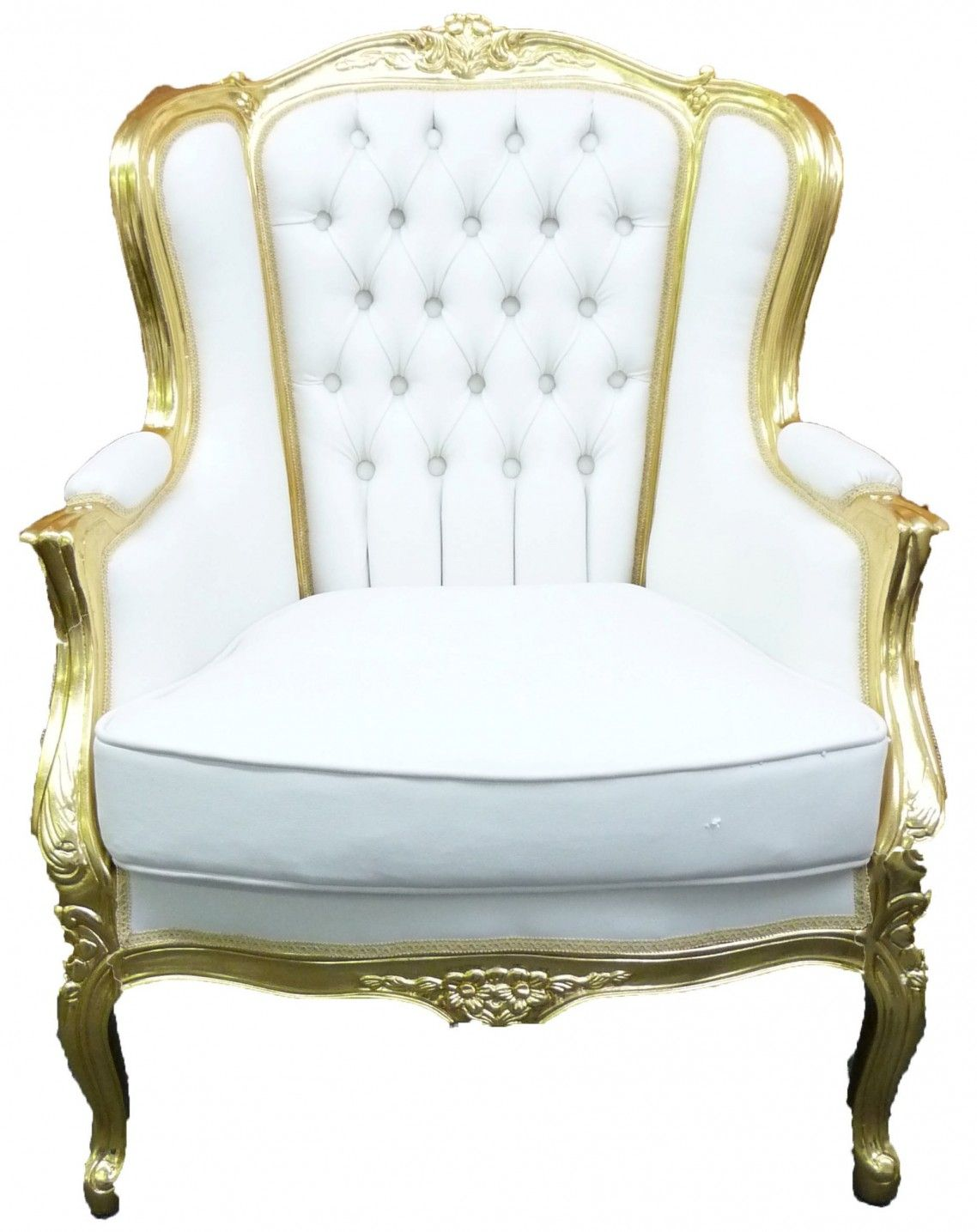 Victorian style chair - Victorian Style Tufted White Leather Wingback Chairs With Carved Gold Wooden Based Frame Adorable White