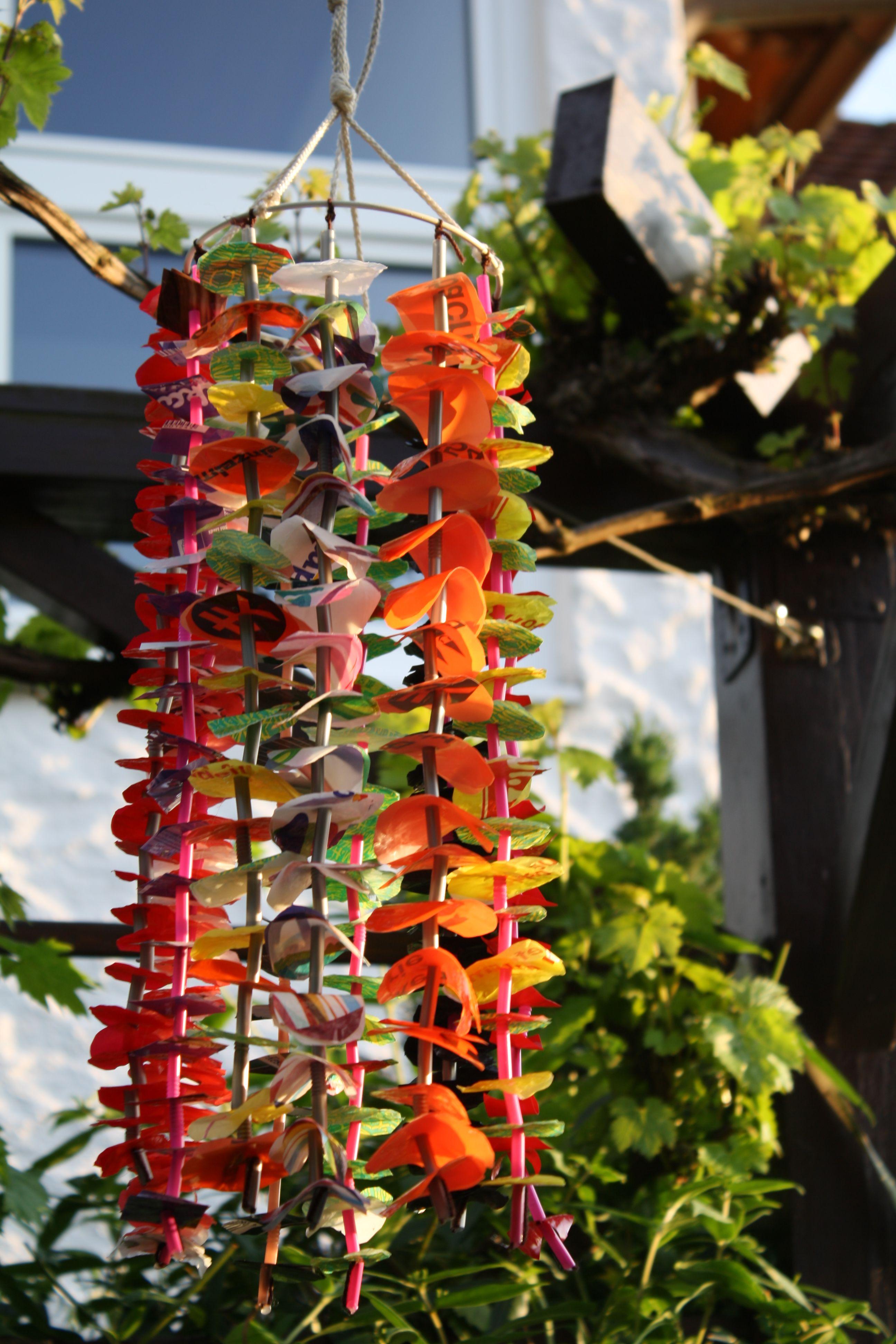 upcycling windspiel | plastiktüten, windspiele und gartendeko, Garten ideen gestaltung