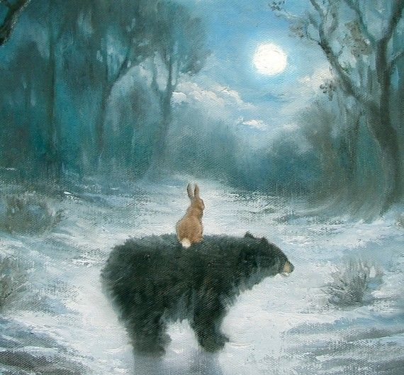 Isabella and the Bear by PaintedMoonGallery on Etsy