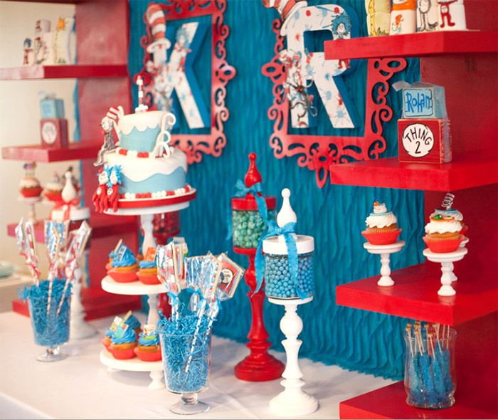 dr seuss thing 1 thing 2 twin birthday party boy birthday party