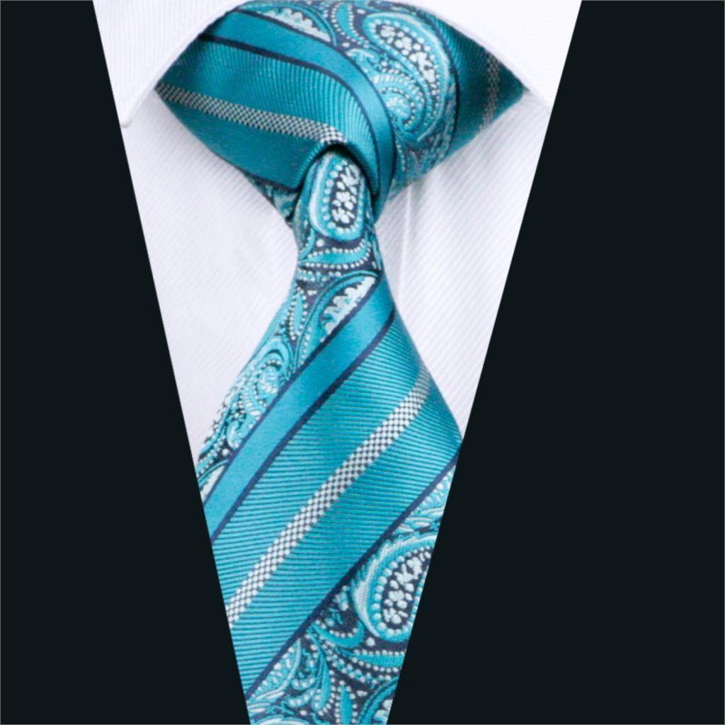 Mens silk tie green paisley necktie silk jacquard ties for men