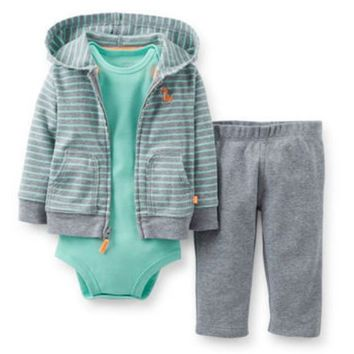 8f6b413518b3f Carters Newborn 3 6 9 12 Months Fox Cardigan Pants Set Baby Boy Clothes  Outfit