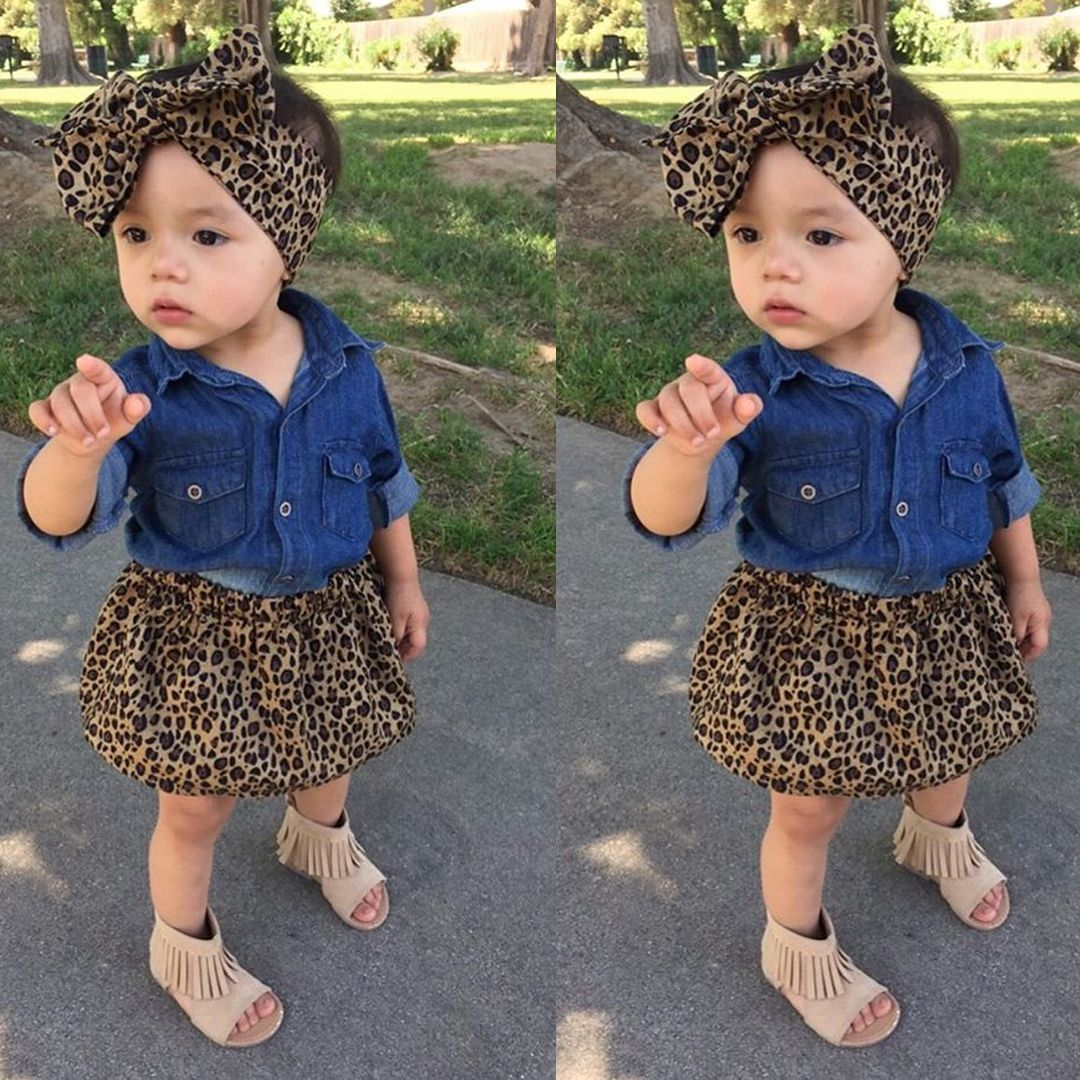 fd970aa1dfbe Nice 3PCS Set Toddler Kids Baby Girls Summer Outfit Clothes denim shirt+ Short Leopard Skirt Set Girls Clothes - $17.73 - Buy it Now!