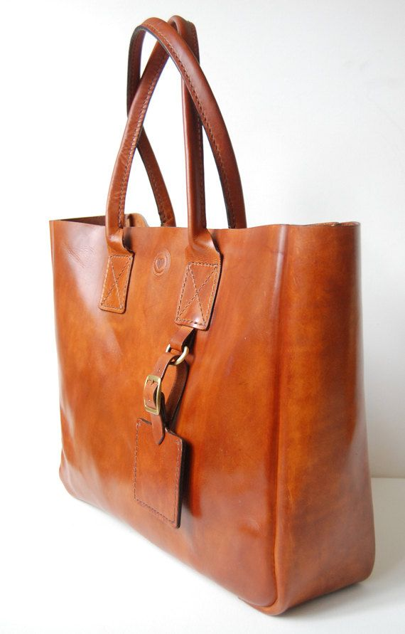 Cognac New York Tote - Handmade leather Tote bag | Leather totes