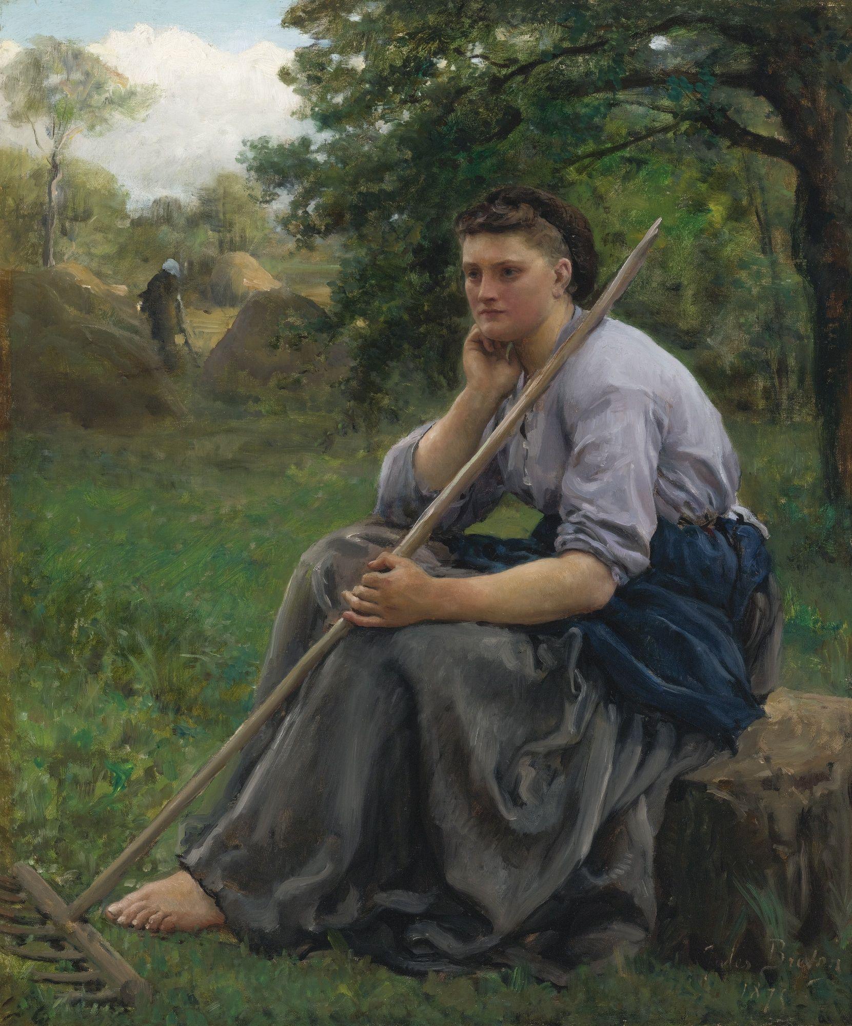 Jules Breton (french, 1827-1906) -FANEUSE ASSISE À L'ORÉE D'UN BOIS (THE HAYMAKER) by Sotheby's