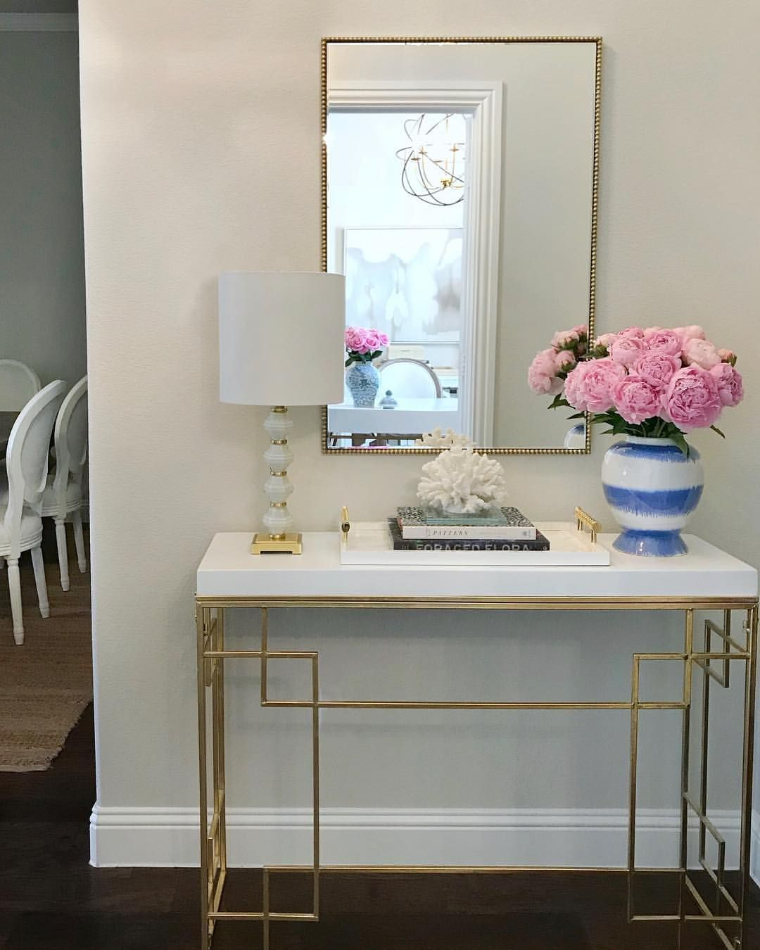 Pink Peonies Entryway Decor Entry Way Table Gold And White Entry Table Gold Console Blue Modern Entry Table Entryway Table Decor Console Table Decorating