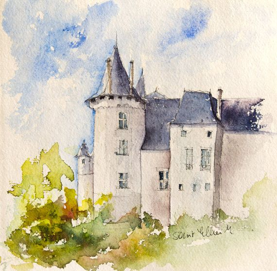 25 Postcards Loire Valley Watercolor Loire Valley Castles