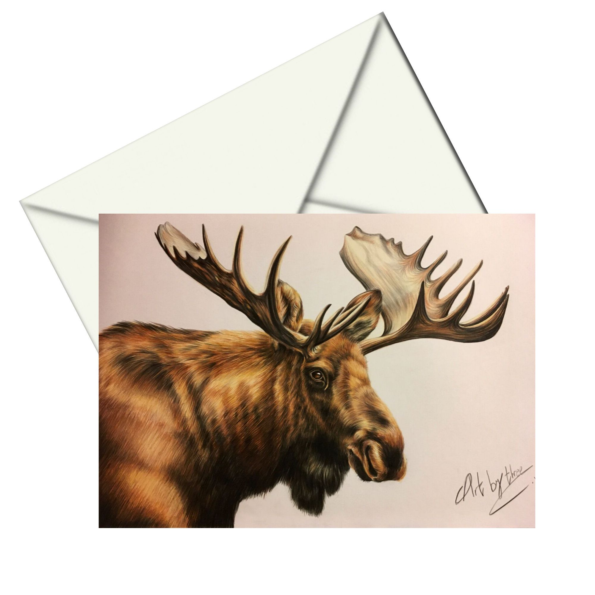 MOOSE GREETING CARD, Blank Moose Card, Moose Notecard