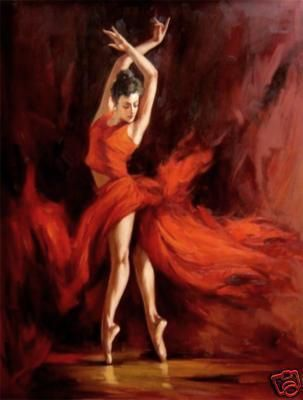 Original Handcraft Oil Painting:Spanish Dancer Flamenco Brunette Red Dress Girl-in Painting Calligraphy