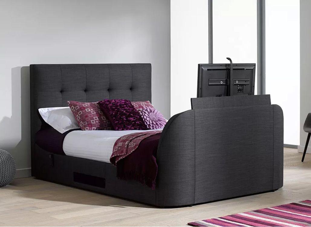evolution t1 tv bed frame with lg tv slate grey projects to try tv bed frame tv beds bed. Black Bedroom Furniture Sets. Home Design Ideas