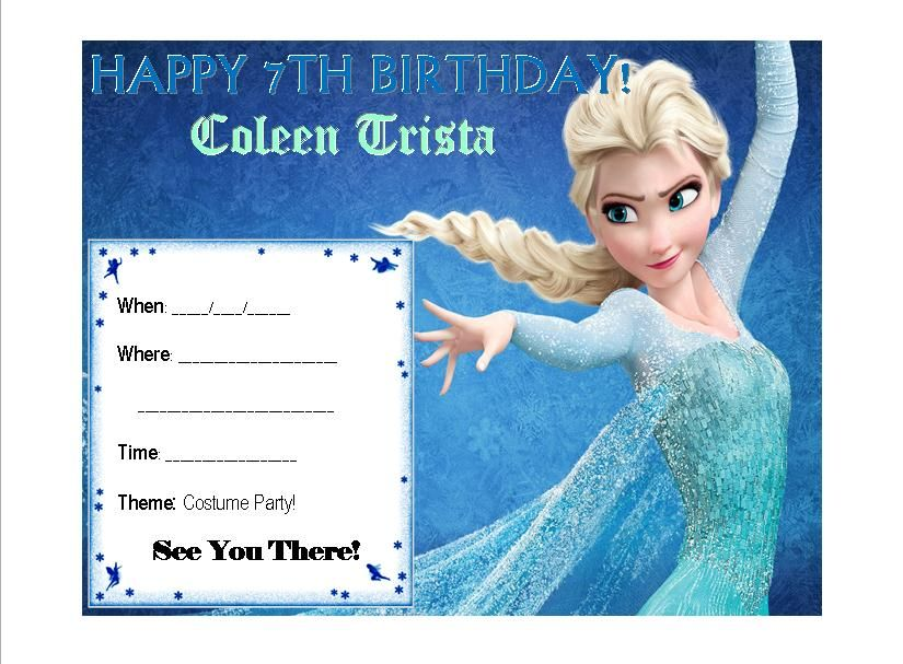 Frozen Invitation Theme Elsa Card Ana Olaf Letitgo Winter Birthday Kids Blue